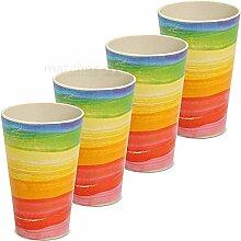matches21 Becher Trinkbecher Bambus Bambusfaser Regenbogen umweltfreundlich und nachhaltig 4er Set 13 cm 380 ml