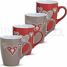 matches21 Bunte Becher Tassen Kaffeetassen Kaffeebecher Landhaus & Herzen 4-tlg. Set Keramik 10 cm / 350 ml