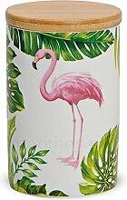 matches21 Flamingo & Monstera Porzellan Vorratsdose mit Holz-Deckel aromadicht mit Gummidichtung 13x8 cm / 450 ml