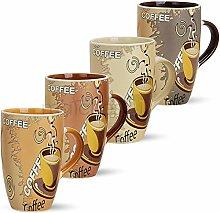 matches21 Große Tassen Becher Kaffeetassen Kaffeebecher Modern Coffee aus Keramik 12 Stk. 12 cm / 350 ml
