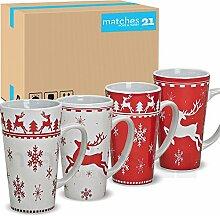 matches21 Jumbo Weihnachtstassen Tassen Becher 36 Stk. Karton rot / weiß aus Keramik hergestellt je 14 cm / 450 ml