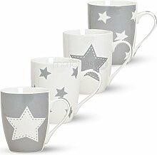matches21 Kaffeebecher Tassen Becher 4-tlg. Set mit Stern grau aus Porzellan gefertigt, je 10 cm hoch / 300 ml