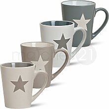 matches21 Kaffeebecher Tassen Becher 4-tlg. Set Sterne weiß beige grau Keramik 10 cm / 250 ml