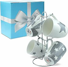 matches21 Kaffeebecher Tassen Becher Sterne grau Porzellan 6-tlg. Geschenk-Set inkl. Geschenkkarton und Edelstahl Tassenhalter