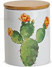 matches21 Kaktus Porzellan Vorratsdose mit Holz-Deckel aromadicht mit Gummidichtung Ø 10x13 cm/650ml