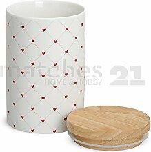 matches21 Porzellan Vorratsdose mit Holz-Deckel Herz Dekor weiß / rot aromadicht mit Gummidichtung je 15x9 cm / 600ml