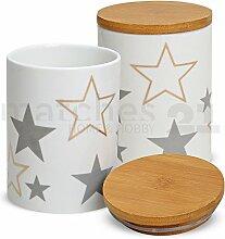matches21 Porzellan Vorratsdose mit Holz-Deckel Sterne weiß / grau / beige aromadicht mit Gummidichtung 10x14 cm 600 ml