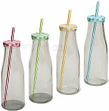 matches21 Strohhalm Glas-Trinkflaschen klar 4er