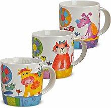 matches21 Süße Kindertassen Tassen / Becher für Kinder mit lustigen bunten Tiermotiven 3-tlg. Set aus Porzellan gefertigt, je 9 cm hoch / 300 ml