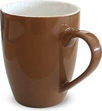 matches21 Tasse Becher Kaffeebecher Unifarben / einfarbig braun Porzellan 12 Stk. 10 cm / 350 ml