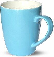 matches21 Tasse Becher Kaffeetassen Kaffeebecher Unifarben / einfarbig hellblau blau Porzellan 8 Stk. 10 cm / 350 ml