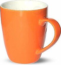 matches21 Tasse Becher Kaffeetassen Kaffeebecher Unifarben / einfarbig orange Porzellan 6 Stk. 10 cm / 350 ml