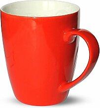 matches21 Tasse Becher Kaffeetassen Kaffeebecher Unifarben / einfarbig rot Porzellan 6 Stk. 10 cm / 350 ml