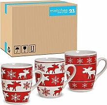 matches21 Tassen Becher 36 Stk. Karton Kaffeetassen Elchdekor rot / weiß Keramik 10 cm / 300 ml