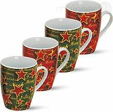 matches21 Tassen Becher bunte Kaffeebecher Weihnachten & Sterne Porzellan 4 Stk. grün rot 10 cm / 300 ml