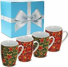 matches21 Tassen Becher bunte Kaffeebecher Weihnachten & Sterne Porzellan 4 Stk. Geschenk-Set inkl. Geschenkkarton & Edelstahl Tassenhalter