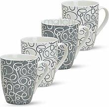 matches21 Tassen Becher Retro Design 4-tlg. Set Kaffeebecher Kaffeetassen grau weiß aus Porzellan je 10 cm / max. 300 ml
