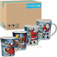 matches21 Tassen Becher Weihnachtstassen Keramik nostalgische Nikolausmotive bunt 36 Stk. Karton 11 cm / 350 ml