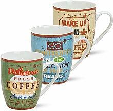 matches21 Tassen Kaffeetassen Becher 3-tlg. Set mit Retro Kaffeemotiven cremefarben blau grün aus Keramik gefertigt, je 10 cm hoch / 250 ml