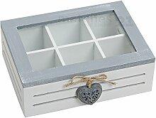matches21 Teebox Teekiste aus Holz mit Herzdeko &