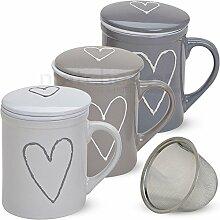 matches21 Teetassen Teebecher weiß/beige/grau