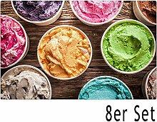 matches21 Tischsets Platzsets Sommer MOTIV bunte Eis-Becher Eistüten auf Holz / Holzbrett 8 Stk. Kunststoff abwaschbar je 43,5x28,5 cm
