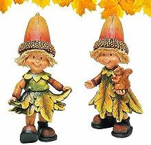 matches21 Tolle Herbstdeko Herbstwichtel Wichtel Deko Figur Herbst Dekoration 2 Stück Junge Mädchen Set je 14 cm aus Polyresin
