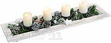 matches21 Weihnachtsdeko Weihnachtliches Kerzentablett Kerzenhalter Tischdeko 60x17x8 cm