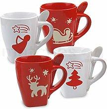 matches21 Weihnachtstassen ohne Löffel 1 Stk. weihnachtliche Tassen rot / weiß aus Keramik ** B-WARE ** je 10 cm / 350 ml