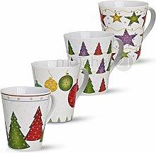 matches21 Weihnachtstassen Tassen Becher Weihnachtsdekor 4-tlg. Set je 11cm / 400ml Porzellan Glühweintassen Kaffeebecher Weihnachtsmotive Weihnachtsdekor
