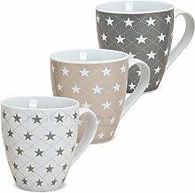 matches21 XXL Jumbo Tassen Becher Kaffeebecher 3-tlg. Set mit Sternen grau beige weiß aus Porzellan hergestellt je 11 cm hoch / 450 ml