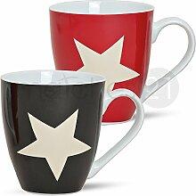 matches21 XXL Jumbo Tassen Becher Kaffeebecher 6 Stk. Set mit Sternen rot schwarz aus Porzellan hergestellt je 11 cm hoch / 500 ml
