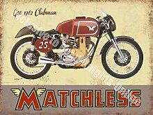 Matchless G50 Clubman Motorrad Vintage Garage Metall/Stahl Wandschild - 30 x 40 cm