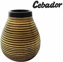 Mate Becher aus Keramik Honig Bienenstock mit