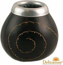 Mate Becher Calabaza espiral negra