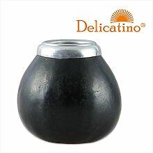 Mate Becher Calabaza Negro con virola aluminum