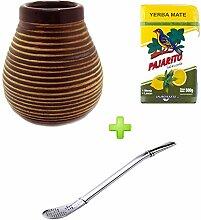 Mate Becher Keramik braun + Bombilla Edelstahl + Pajarito Menta Limon 500g