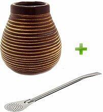 Mate Becher Keramik braun + Bombilla Edelstahl rund