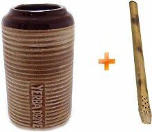 Mate Becher Keramik für Autogetränkehalter + Bombilla Bambus