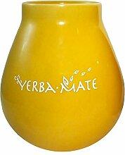 Mate-Becher Keramik gelb mit der Inschrift