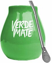 Mate Becher Keramik Grün Verde + Bombilla