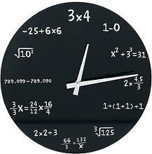 Mathematik Glas-Wanduhr Wanduhr - schwarz