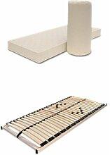 Matratzen-Lattenrost-Set 100x200 Poly + Max1 Atmungsaktive Komfortschaummatratze + Ros