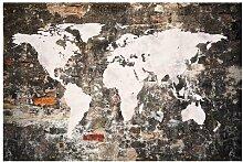 Matt Fototapete Alte Mauer Weltkarte 1,9 m x 288