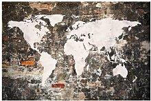 Matt Fototapete Alte Mauer Weltkarte 2,55 m x 384