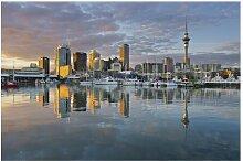 Matt Fototapete Auckland Skyline Sonnenuntergang