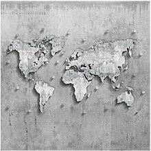 Matt Fototapete Beton Weltkarte 1,92 m x 192 cm