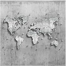 Matt Fototapete Beton Weltkarte 3,36 m x 336 cm