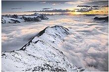 Matt Fototapete Blick über Wolken und Berge 1,9 m