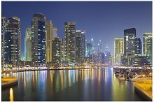 Matt Fototapete Dubai Nacht Skyline 2,55 m x 384
